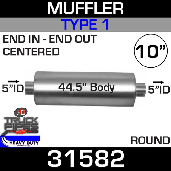 """Type 1 Muffler 10.08"""" Round - 44.5"""" x 5"""" IN-OUT 31582"""