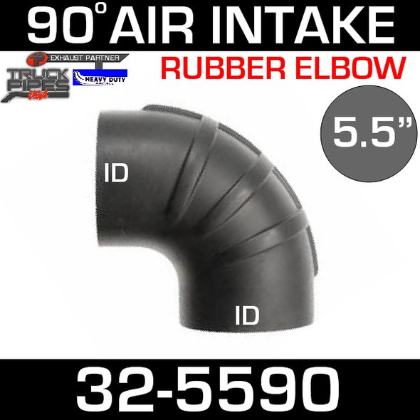 "5.5"" x 90 Degree Rubber Air-Intake Elbow 32-5590"