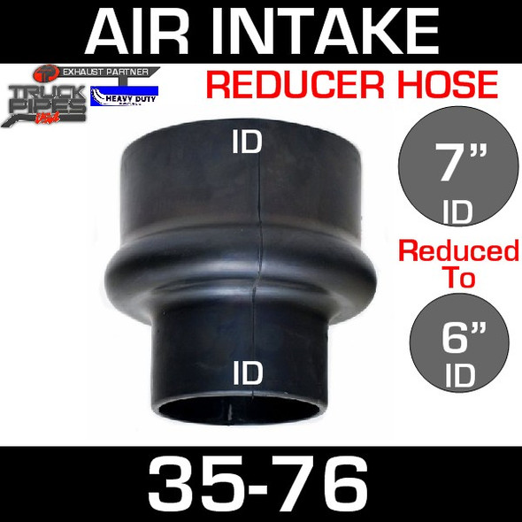 """7"""" to 6"""" Rubber Reducer Hose Air-Intake Exhaust 35-76"""