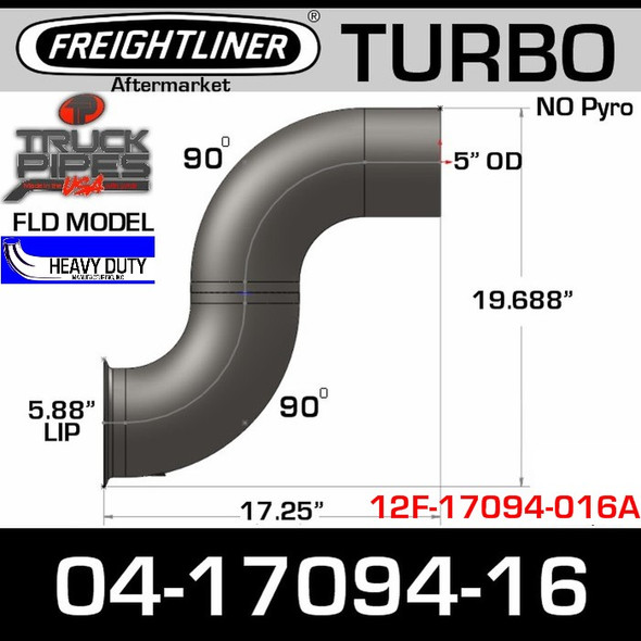 Freightliner FLD Double Bend Turbo Elbow 04-17094-016