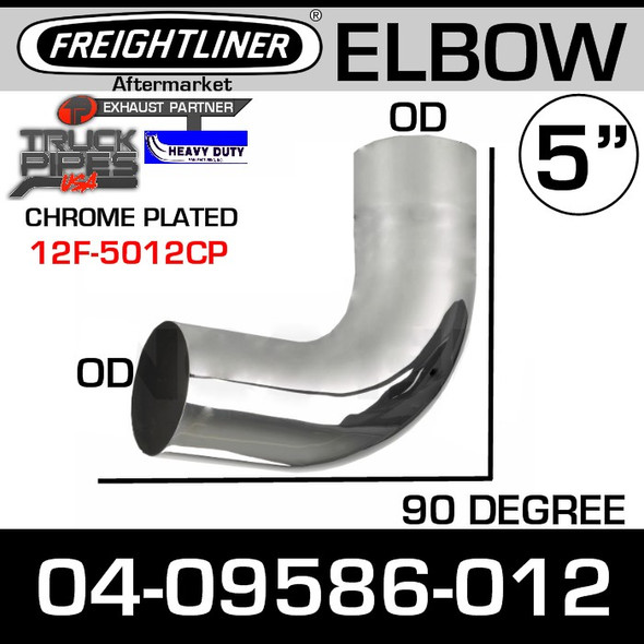 "Freightliner Exhaust 5"" Chrome OD-OD Elbow 04-09586-012 or 04-09657-012"