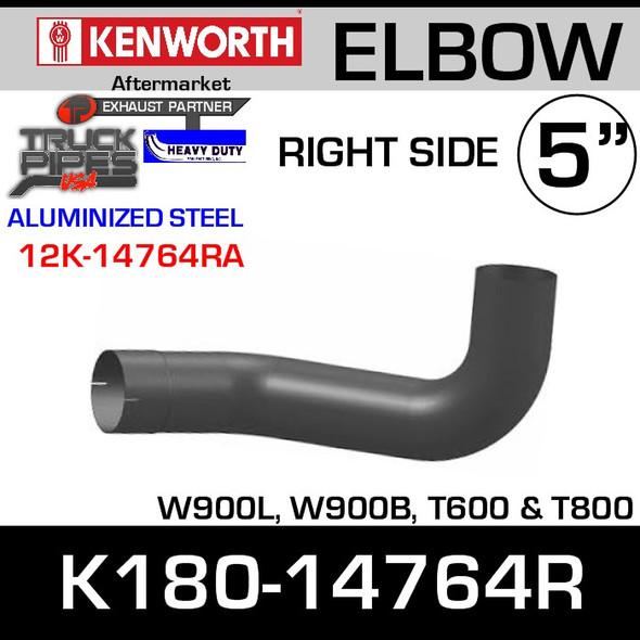 Kenworth W900/T600 Aluminized RIGHT Side Exhaust Elbow K180-14764R