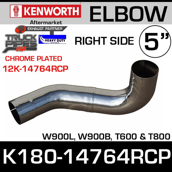 Kenworth W900/T600 RIGHT Side CHROME Exhaust Elbow K180-14764RCP