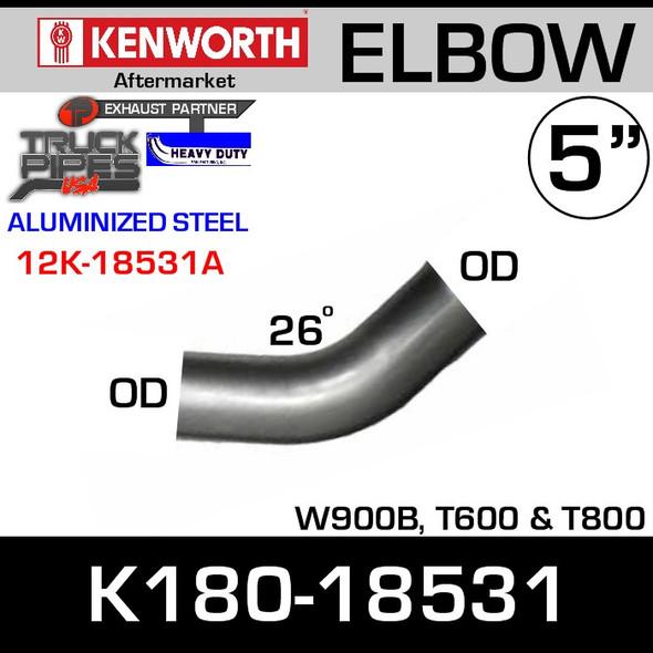 "Kenworth W900B/L T600/800 26 degree Elbow 5"" OD Ends K180-18531"