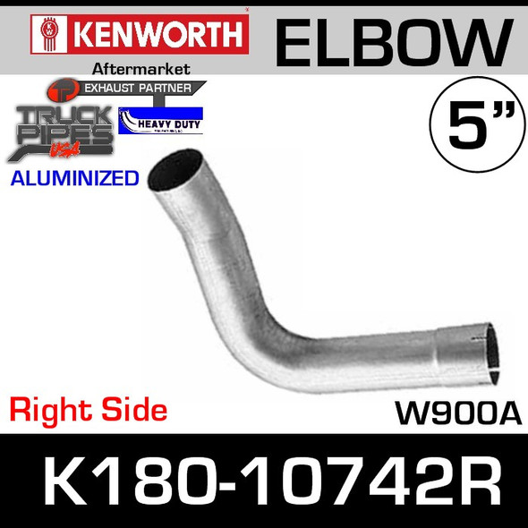 Kenworth W900A Right Side Passenger Aluminized Exhaust Elbow K180-10742R