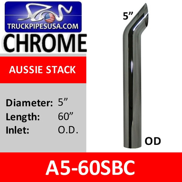 "5"" x 60"" OD Aussie Style Exhaust Stack Pipe CHROME A5-60SBC"