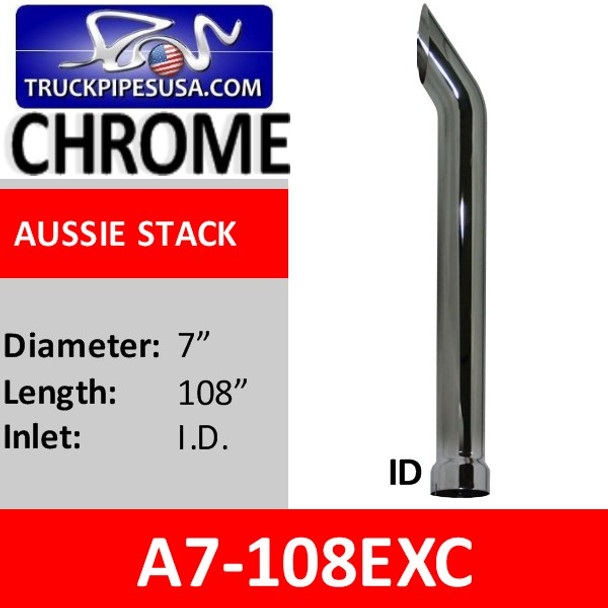 """7"""" x 108"""" ID Aussie Style Exhaust Stack Pipe CHROME A7-108EXC"""