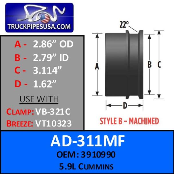 """2.86"""" OD 5.9L Cummins Machined Style B Turbo AD-311MF"""
