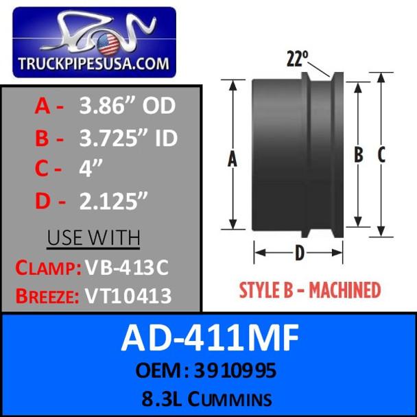 """3.86"""" OD x 4"""" Lip 8.3L Cummins Machined Style B Turbo AD-411MF"""