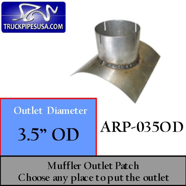 "3.5"" OD Universal Muffler Outlet Patch 8"" x 8"" ARP-035OD"