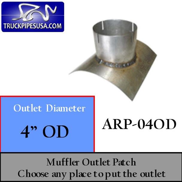 "4"" OD Universal Muffler Outlet Patch 8"" x 8"" ARP-04OD"