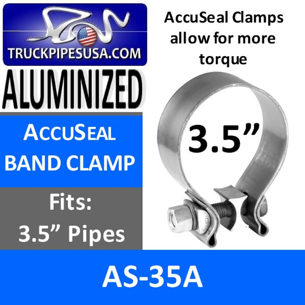 """3.5"""" AccuSeal Exhaust Band Clamp ALUMINIZED AS-35A"""