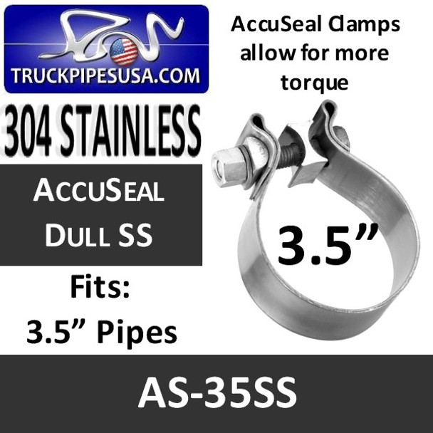 "3.5"" AccuSeal Exhaust Band Clamp STAINLESS STEEL AS-35SS"