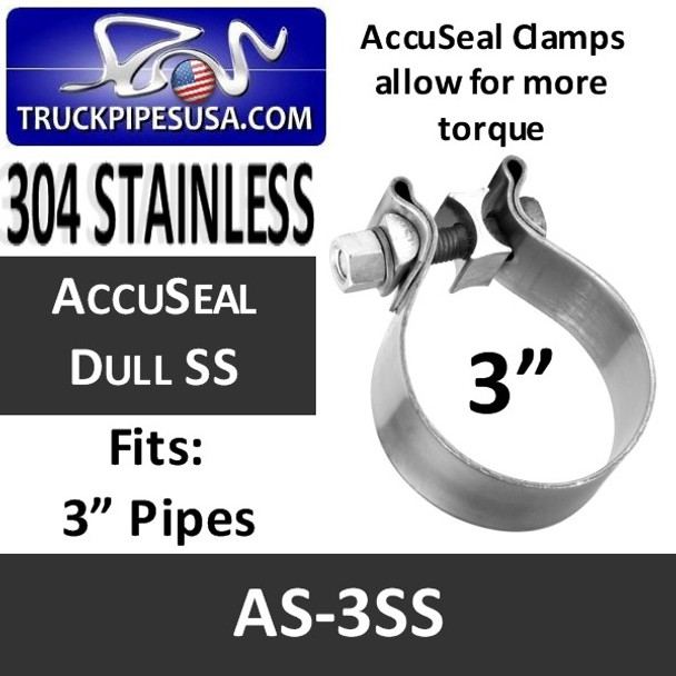 """3"""" AccuSeal Exhaust Band Clamp STAINLESS STEEL AS-3SS"""