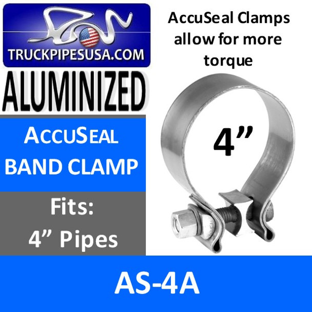 "4"" AccuSeal Exhaust Band Clamp ALUMINIZED AS-4A"