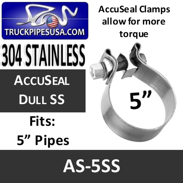 "5"" AccuSeal Exhaust Band Clamp STAINLESS STEEL AS-5SS"