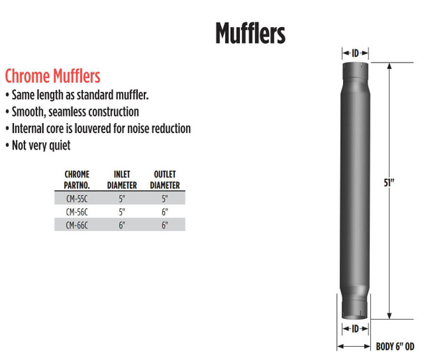 "5"" ID x 6"" ID x 51 Long CHROME Exhaust Muffler Pipe CM-56C"