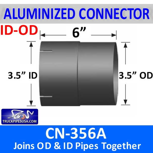 "3.5"" Exhaust Pipe Connector ID/OD 6"" Long ALUMINIZED CN-356A"