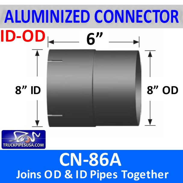 """8"""" Exhaust Pipe Connector ID/OD 6"""" Long ALUMINIZED CN-86A CUSTOM PART"""