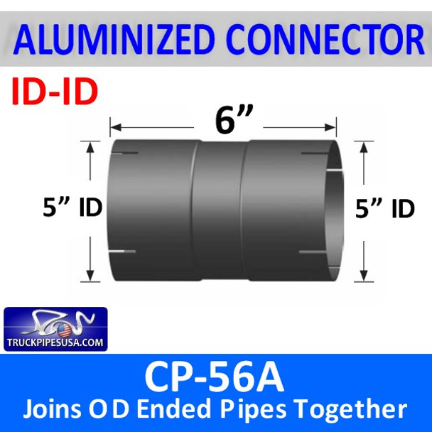 "5"" Exhaust Pipe Coupler ID/ID 6"" Long ALUMINIZED CP-56A"