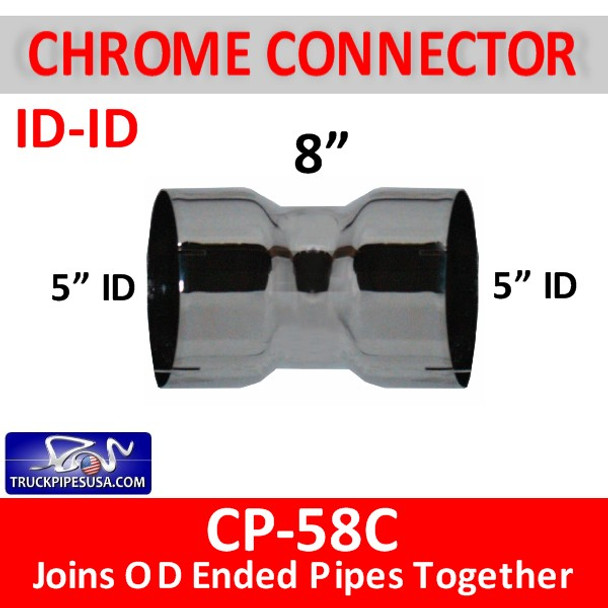 "5"" Exhaust Pipe Coupler ID/ID 8"" Long CHROME CP-58C"