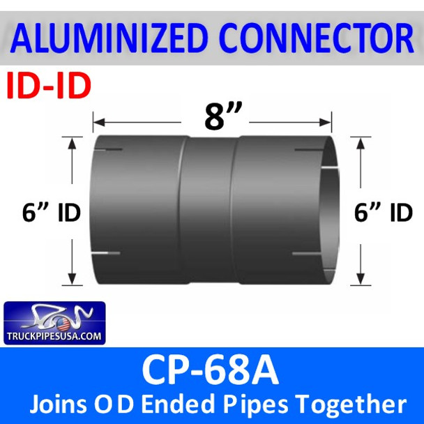"""6"""" Exhaust Pipe Coupler ID/ID 8"""" Long ALUMINIZED CP-68A"""