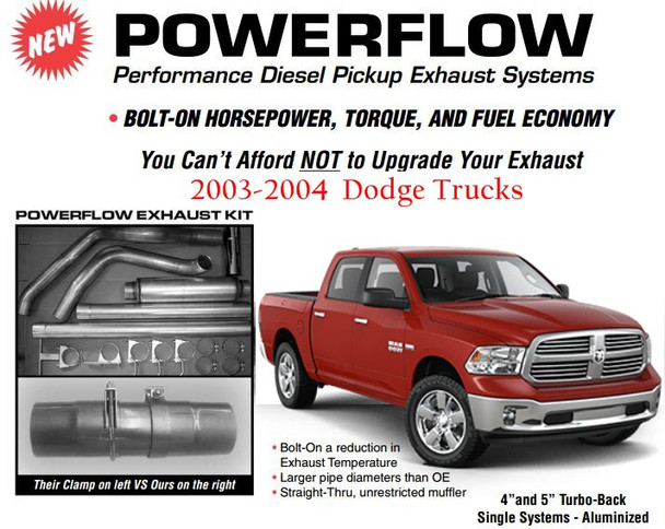 "2003-2004 4"" Powerflow Dodge Full Exhaust Kit DC-0304-A4"