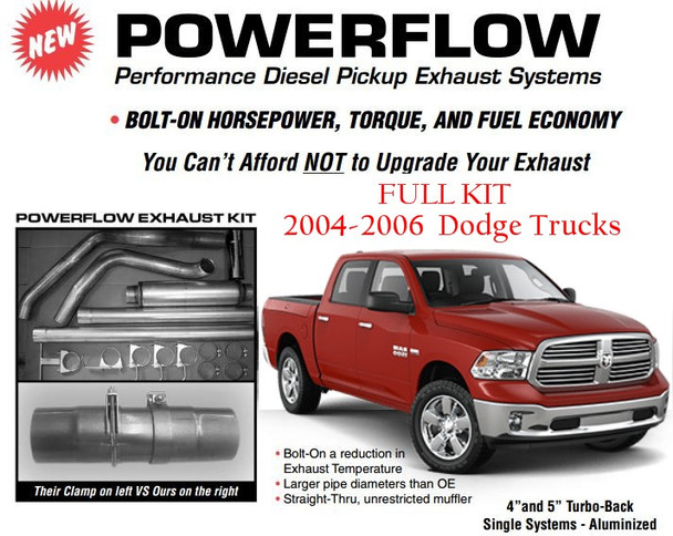 "2004-2006 Dodge 5.9L 600 Series 5"" ALUMINIZED Exhaust Kit"