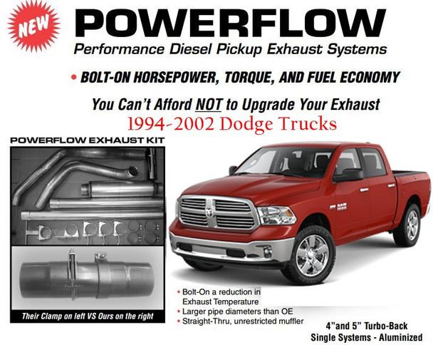 """1994-2002 Dodge 5.9L Cummins Single 5"""" Exhaust Kit"""