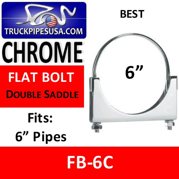 "6"" Flat Bolt Exhaust Pipe Clamp CHROME FB-6C"