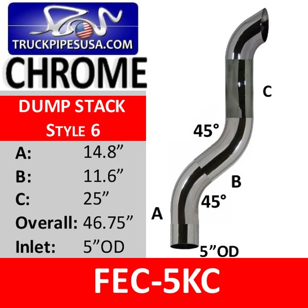 "5"" OD Dump Truck Exhaust Stack 45 Degree CHROME FEC-5KC"