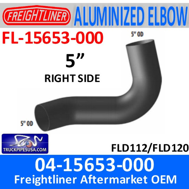 04-15653-000 Freightliner Exhaust Right Elbow ALUMINIZED FL-15653-000