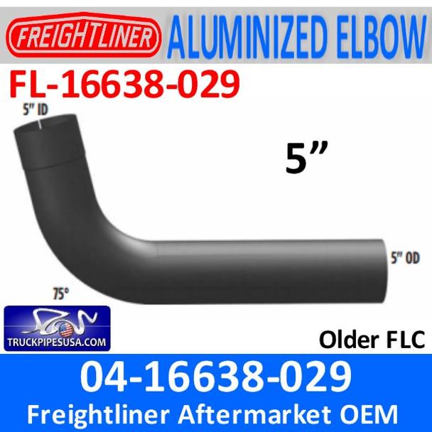 """04-16638-029 Freightliner 75 Deg ALUMINIZED Elbow 5"""" ID/OD FL-16638-029"""