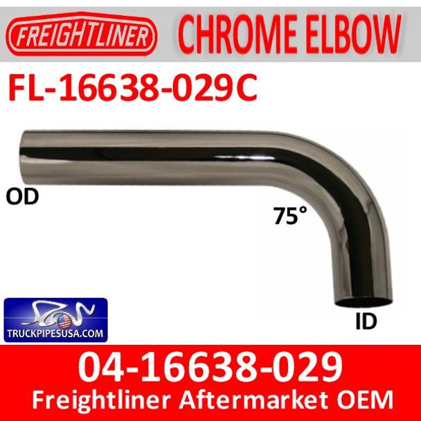 04-16638-029 Freightliner 75 Degree CHROME Elbow FL-16638-029