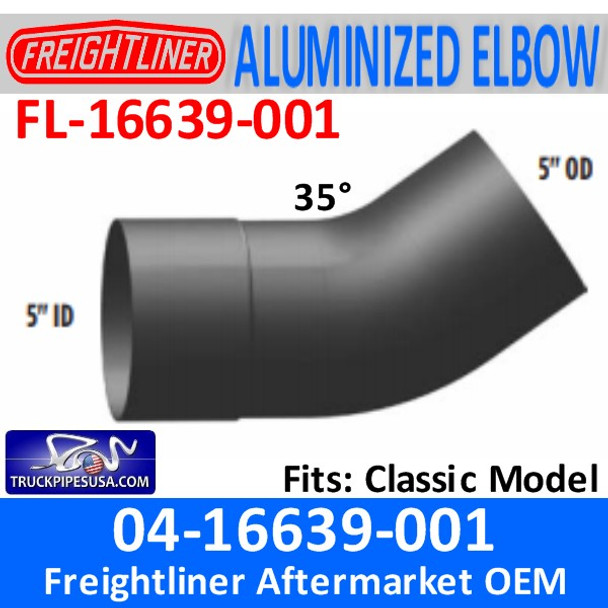 04-16639-001 Freightliner 35 Deg ALUMINIZED Exhaust Elbow FL-16639-001
