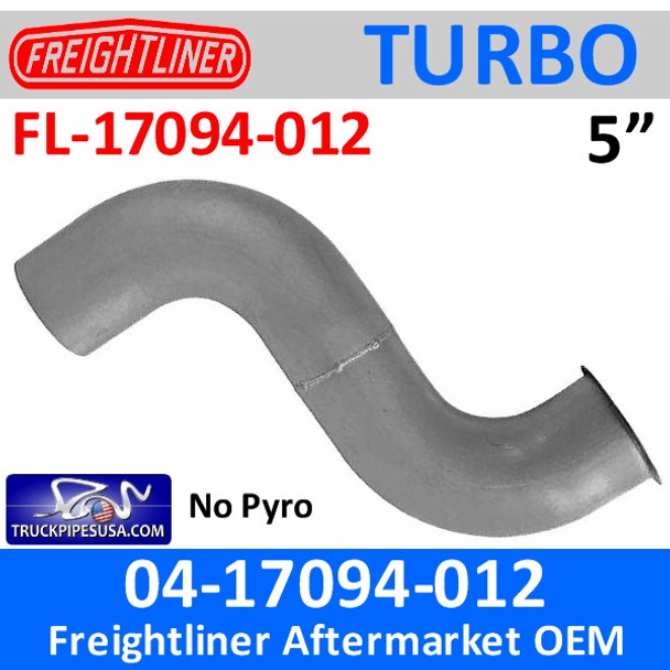04-17094-012 Freightliner Turbo Exhaust Pipe NO Pyro FL-17094-012