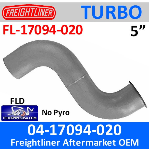 04-17094-020 Freightliner Turbo Exhaust Pipe NO Pyro FL-17094-020