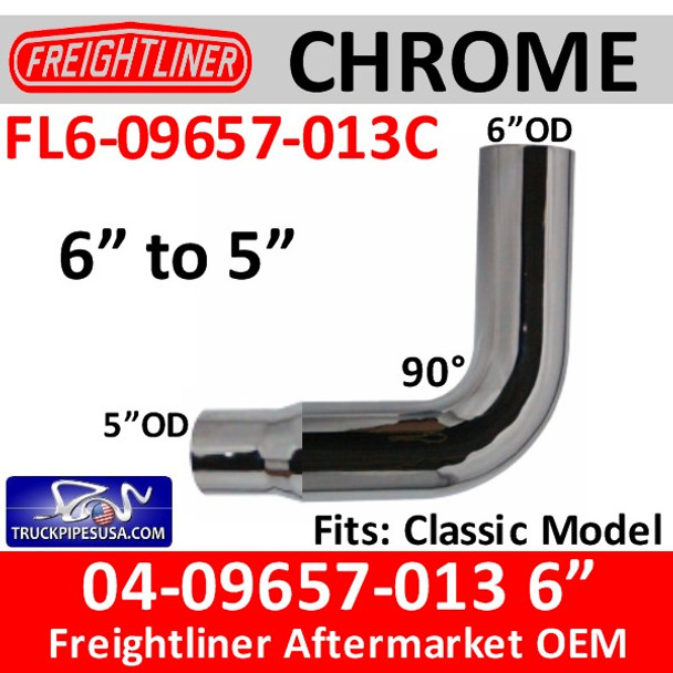 """04-09657-013 6"""" to 5"""" Freightliner CHROME Exhaust Elbow FL6-09657-013C"""