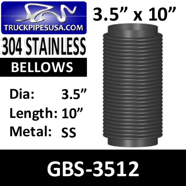 "3.5"" x 10"" Universal Bellows Flex Pipe 304 STAINLESS STEEL GBS-3512"