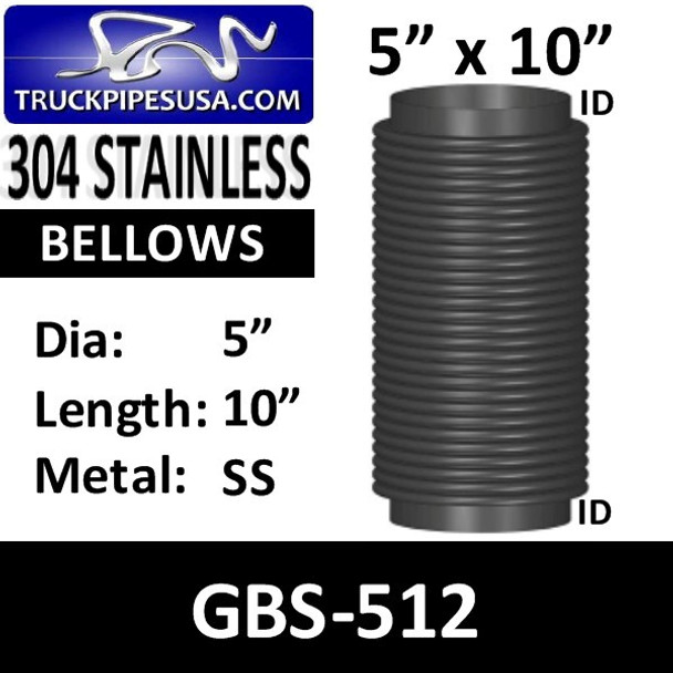 "5"" x 10"" Universal Bellows Flex Pipe 304 STAINLESS STEEL GBS-512"