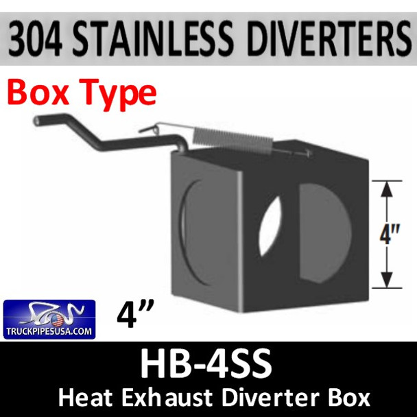 "2 Position Exhaust Diverter Box 4"" ID Holes 304 STAINLESS STEEL HB-4SS"