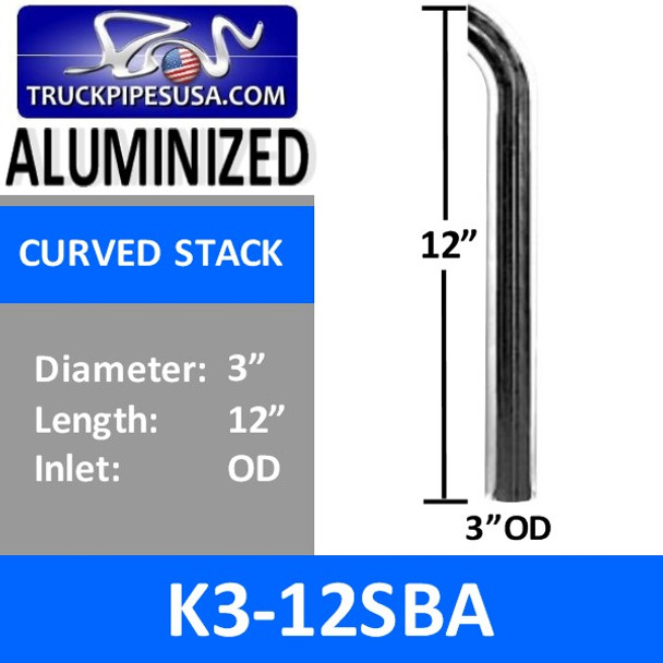 "3"" x 12"" Curved Exhaust Tip with OD Bottom ALUMINIZED K3-12SBA"