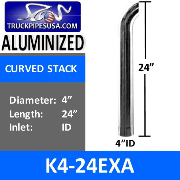 """4"""" x 24"""" Curved Exhaust Tip with ID Bottom ALUMINIZED K4-24EXA"""