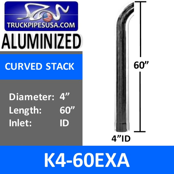 "4"" x 60"" Curved Exhaust Tip with ID Bottom ALUMINIZED K4-60EXA"
