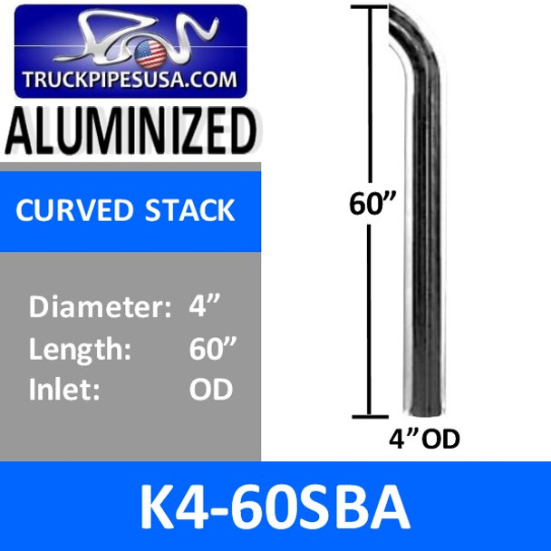 "4"" x 60"" Curved Exhaust Tip with OD Bottom ALUMINIZED K4-60SBA"