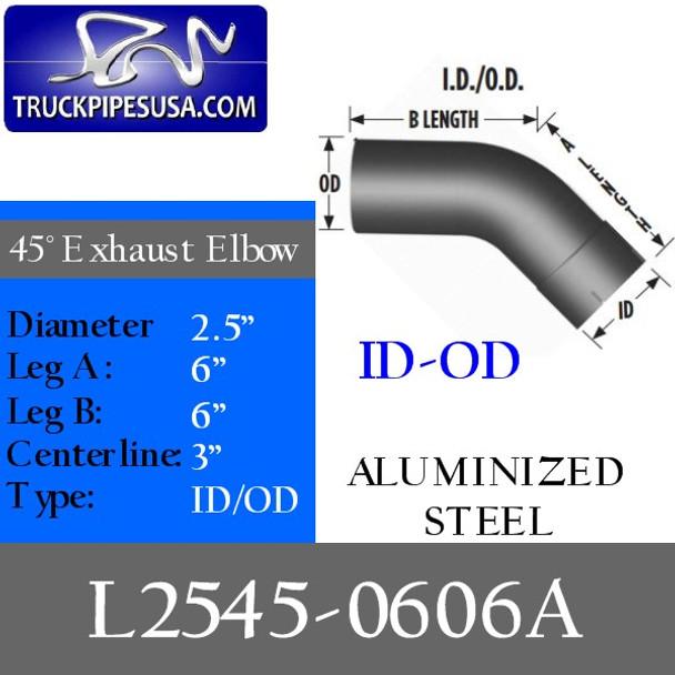 "2.5"" Exhaust Elbow 45 Degree 6"" x 6"" ID/OD ALUMINIZED L2545-0606A"