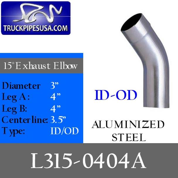 "3"" Exhaust Elbow 15 Degree 4"" x 4"" ID/OD ALUMINIZED L315-0404A"