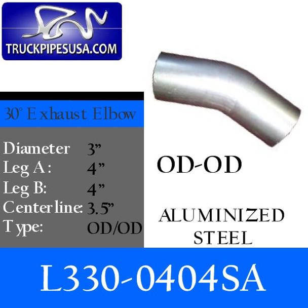 "3"" Exhaust Elbow 30 Degree 4"" x 4"" OD/OD ALUMINIZED L330-0404SA"