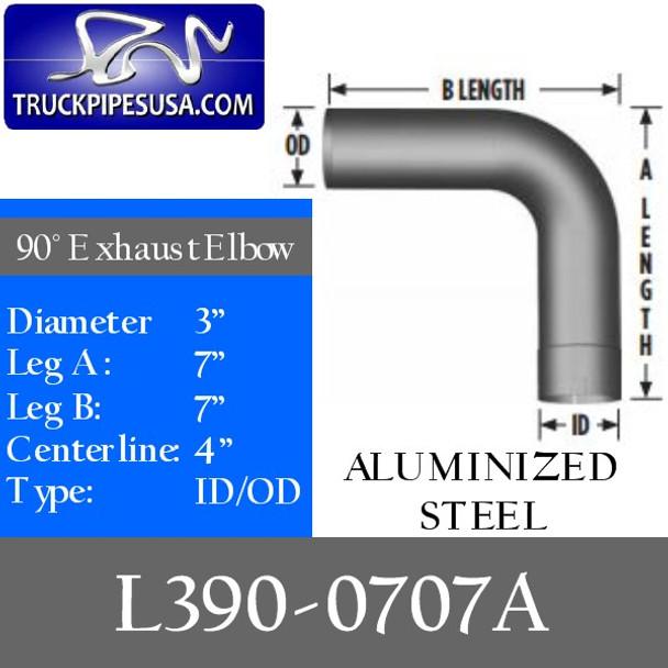 "3"" Exhaust Elbow 90 Degree 7"" x 7"" ID/OD ALUMINIZED L390-0707A"