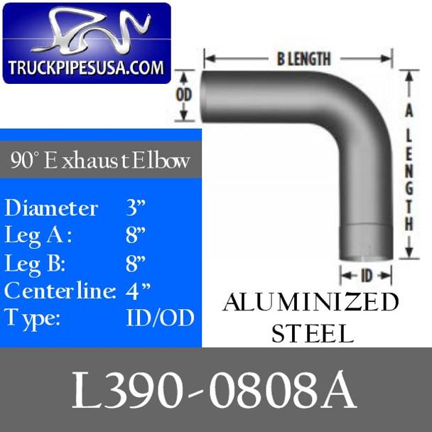 "3"" Exhaust Elbow 90 Degree 8"" x 8"" ID/OD ALUMINIZED L390-0808A"